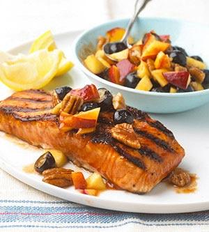 salmon estilo barbecue con salsa de nectarina sabor